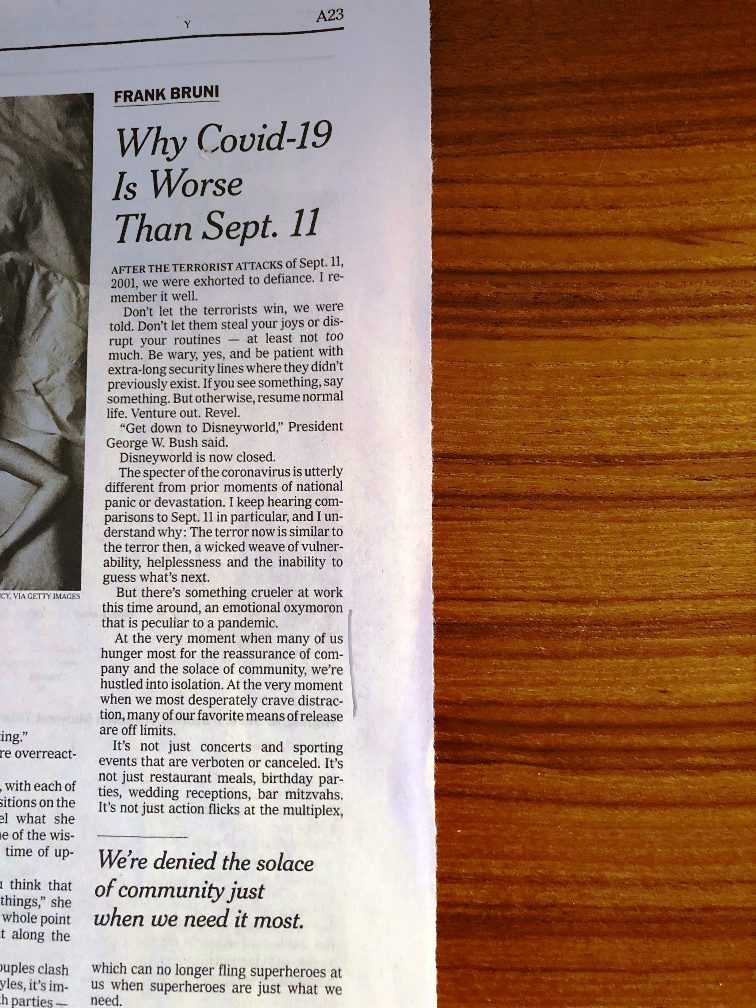 <center>Bruni's op-ed in <i>The New York Times</i></center>