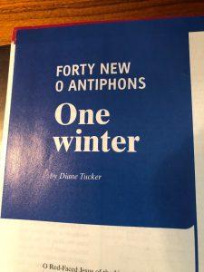 """<center>Diane Tucker's """"One winter""""</center>"""