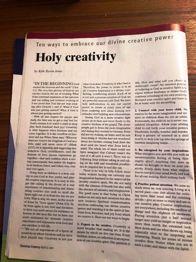 "<center>Kirk Jones' ""Holy Creativity""</center>"